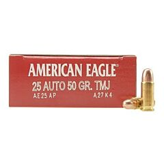 Federal American Eagle 25 ACP 50 Grains Full Metal Jacket 50 Rounds