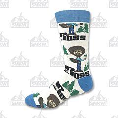 Oooh Yeah! Always Bob Ross White Men's Crew Socks
