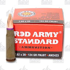Red Army Standard Ammo 7.62x39mm 124 Grain FMJBT 20 Rounds