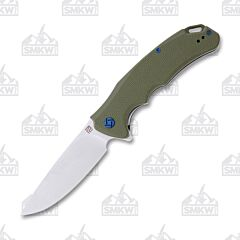 "Artisan Cutlery Tradition Folding Knife with OD Green G-10 Handle and Satin Finish D2 Tool Steel 3.9"" Drop Point Blade Model 1702P-GN"