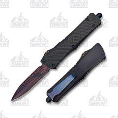 Marfione Blue Custom Combat Troodon Dagger Damascus Blade Aluminum Handle
