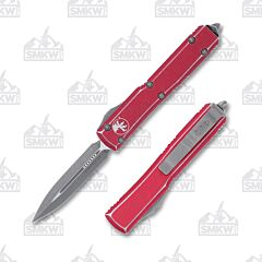 Microtech Ultratech D/E Stonewash Distressed Red
