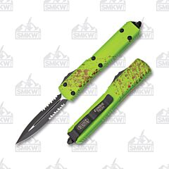 Microtech Ultratech Black Elmax Steel Double-Edged Partially Serrated Blade Zombie Green Aluminum Handle
