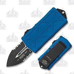 Microtech Exocet Blue Partially Serrated