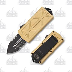Microtech Exocet Champagne Gold Partially Serrated