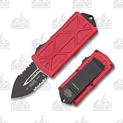 Microtech Exocet Red Partially Serrated
