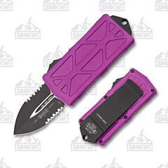 Microtech Exocet Violet Partially Serrated