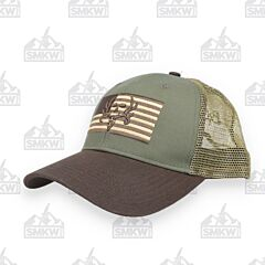 Bone Collector Olive and Tan Flag Hat
