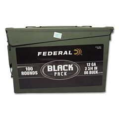 "Federal Black Pack 12 Gauge 2-3/4"" 00 Buckshot 9 Pellets 100 Rounds"
