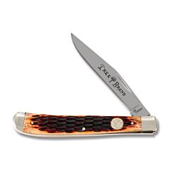 Boker Traditional Series Slim Line Trapper Brown Jigged Bone Handle High Carbon Stainless Steel Blade