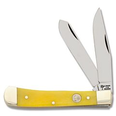 Boker Yellow Bone Trapper Yellow Smooth Bone Handle C75 Stainless Steel Blades