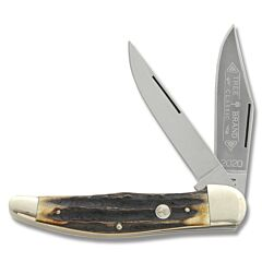 Boker Two Blade Stag Folding Hunter High Carbon Stainless Steel Blades Stag Antler Handle