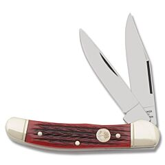 Boker Red Bone Copperhead Red jigged Bone Handle C75 Carbon Steel Blades