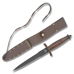 Boker Plus V-42 Devil's Brigade Dagger SK5 Carbon Steel Blade Stacked Leather Handle