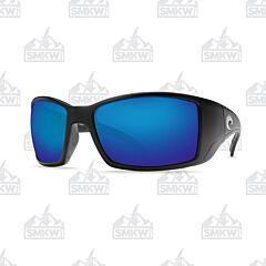 Costa Blackfin Sunglasses Matte Black Plastic Frame Blue Mirror Polarized Glass Lenses