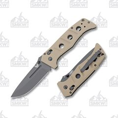 Benchmade Knives 275BKSN Adamas with Tan G-10 Handles and Black Coated D2 Tool Steel 3.812 Drop Point Plain Edge Blade Model 275BKSN