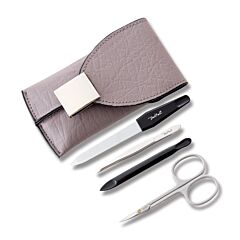 Benchmark 4 Piece Manicure Set Grey Magnetic Flap Case