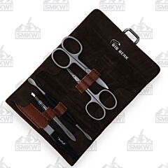 Benchmark 5 Piece Manicure Set Brown Roll Style Case
