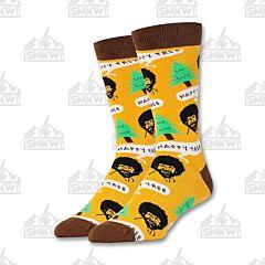 Ooh Yeah! Happy Tree Bob Ross Men's Crew Socks