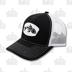 Outdoor Cap Bone Fish Hat Black and White