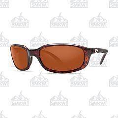 Costa Brine Sunglasses Tortoise Shell Plastic Frame Copper Polarized Plastic Lenses