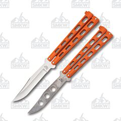 Bear & Son Orange Butterfly Knife & Trainer Combo High Carbon Stainless Steel Blades Orange Cast Metal Handles