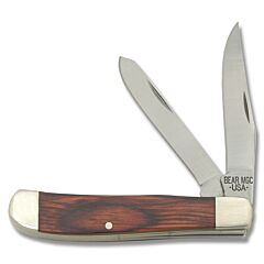 "Bear & Son Mini Trapper 3.50""  with Rosewood Handle and High Carbon Stainless Steel Plain Edge Blades Model 207R"