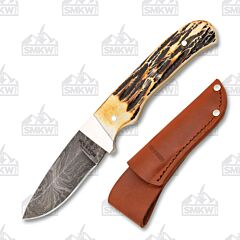 """Bear & Son Hunter with Genuine India Stag Handle and Damascus Steel 2.75"""" Drop Point Plain Edge Blade Model 548D"""