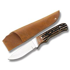 "Bear & Son Hunter with India Stag Bone Handle and High Carbon Stainless Steel 2.875"" Drop Point Plain Edge Blade Model 549"