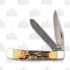 Bear and Son Large Trapper Damascus Blade Stag Bone Handles