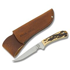 "Bear & Son Small Bird and Trout Knife with Imitation Stag Handle and High Carbon Stainless Steel 3.50"" Spear Point Plain Edge Blade and Leather Belt Sheath Model 751"
