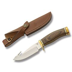 "Buck Zipper with Woodgrain Handle and Satin Finish 420HC Stainless Steel 420HC Stainless Steel 4.25"" Drop Point Plain Edge Blade with Brown Leather Sheath Model 0191BRG-B"