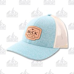 Buck Adult Hat Womens Leather Patch Teal And White Mesh