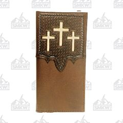 Twisted X Western Brown Leather Rodeo Wallet with Triple Hair Inlay