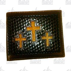 Twisted X Western Leather Bifold Wallet with Hair On Inlaid Crosses