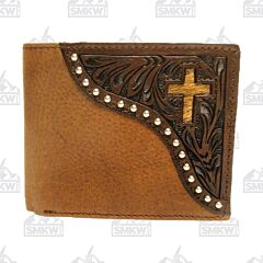 Western Leather Bi-Fold Wallet with Cross