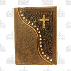Western Leather Trifold Wallet with Hair On Cross
