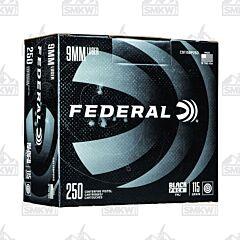 Federal Black Pack 9MM Luger 115 Grain Full Metal Jacket 250 Rounds