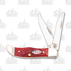 Case Pocket Hunter Red Jigged Bone Flag Shield