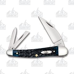 Case Blue Denim Peach Seed Jigged Bone Seahorse Whittler