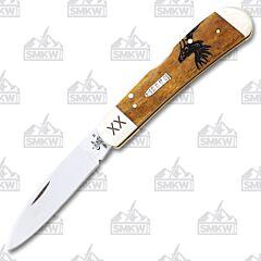 Case Deer Scene Smooth Antique Bone Tribal Lock Tru-Sharp Surgical Steel Blade