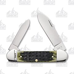 Case Olive Green Russell Jigged Bone Canoe