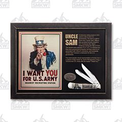 Case US Army Uncle Sam Natural Smooth Bone Trapper Commemortive