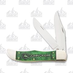 Case John Deere Green Smooth Bone Large Folding Hunter