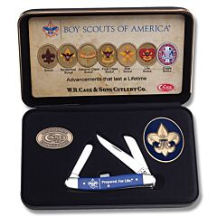 """Case Boy Scouts of America Commemorative Prepared For Life Medium Stockman 3.625"""" with Blue Smooth Synthetic Handles and Tru-Sharp Surgical Steel Plain Edge Blades Model 18037"""