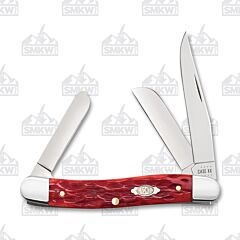 Case Dark Red Jigged Bone CV Medium Stockman
