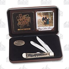 """Case and Zac Brown Band Southern Grind My Old Man Trapper 4.125"""" with Natural Bone Handles and Tru-Sharp Surgical Steel Plain Edge Blades Model 48260"""