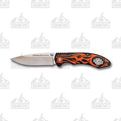 Tec X Harley-Davidson Orange Flames Linerlock with Glass Reinforced Handles and 440 Stainless Steel Drop Point Plain Edge Blade Model 52119