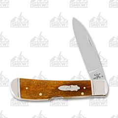 "Case Tribal Lockback 4.125"" with Antique Smooth Bone Handles and Tru-Sharp Surgical Steel Plain Edge Blades Model 58190"