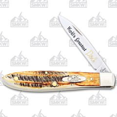 Case World's Greatest Dad 6.5 BoneStag Tear Drop Tru-Sharp Surgical Steel Blade
